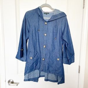 FOR CYNTHIA •Chambray Button Up Hooded Jacket Sz L